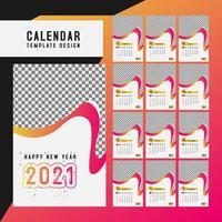 set di modello da scrivania calendario 2021 vettore