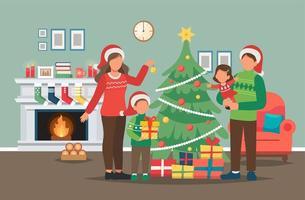 famiglia che decora l'albero di Natale vettore