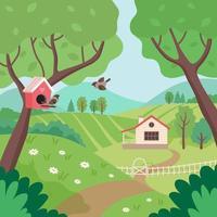 campagna di primavera con casa, alberi e uccelli