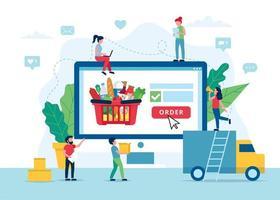 concetto di consegna di generi alimentari online