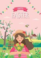 progettazione verticale di pasqua con la ragazza nel paesaggio di primavera vettore