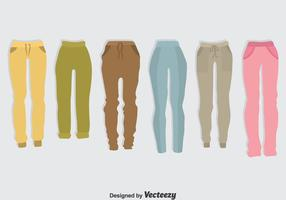 Set di vettore di pantaloni sportivi colorati