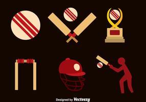 Icone piane di elemento di cricket vettore
