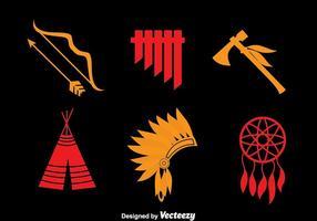 Vettore delle icone di elemento indiano