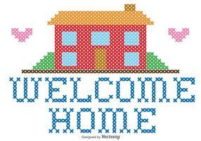 Benvenuti a casa ricamo grafica vettoriale