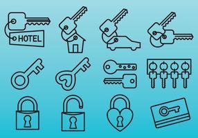 Icone chiave di linea vettore