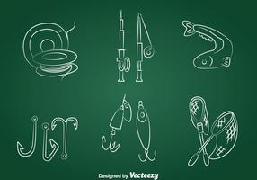 Vettore disegnato a mano delle icone di pesca