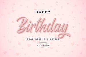 sfondo di compleanno con scritta rosa vettore