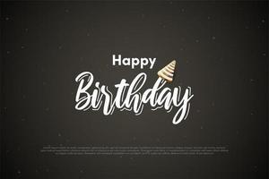 compleanno di sfondo con la scrittura di gesso bianco vettore