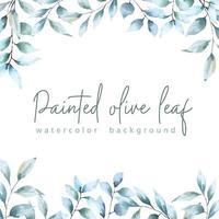 sfondo di foglie di ulivo dipinte ad acquerello