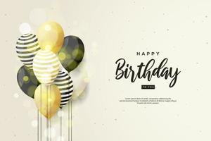sfondo di compleanno con palloncini d'oro vettore
