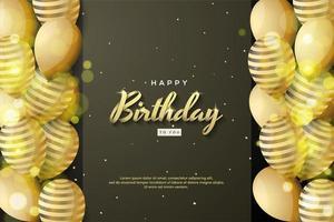 celebrazione di sfondo con palloncini a strisce dorate 3d vettore