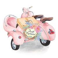 scooter per matrimonio dipinto ad acquerello