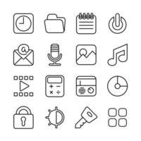 icone di Ouline per l'interfaccia dello smartphone o il design del tema vettore