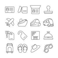 set di icone di linea del viaggio cronologico cross country