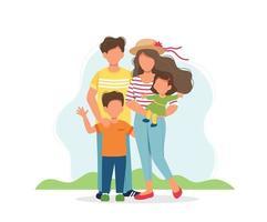 famiglia felice con ritratto di bambini vettore