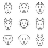set di icone linea retta di facce di cane