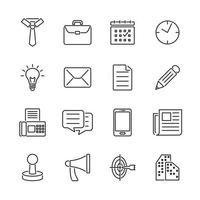 contorni icone relative a affari e ufficio vettore