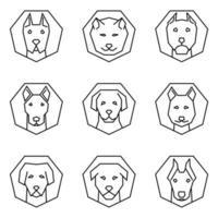 set di icone di outine facce di cane