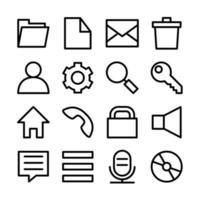 set di icone di linea relative alla popolare interfaccia utente del sistema operativo vettore