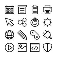 icona linea imposta l'interfaccia utente correlata vettore