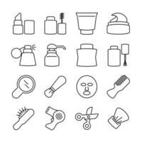 set di icone di linea di cosmetici o trattamenti di bellezza