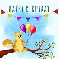 carta di buon compleanno con simpatico scoiattolo, ramo di un albero e palloncini