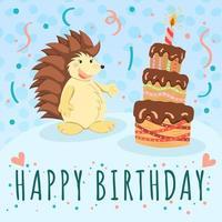 carta di buon compleanno con riccio carino e torta al cioccolato