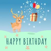carta di buon compleanno con simpatici cervi, palloncini e confezione regalo