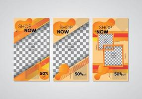 negozio di social media arancione ora impostato vettore