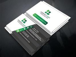 biglietto da visita grigio, verde e bianco ad angolo vettore