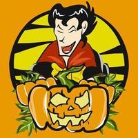 jack o lantern e vampiro vettore