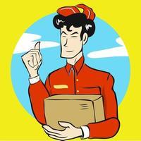 personale addetto alla consegna che tiene la scatola vettore