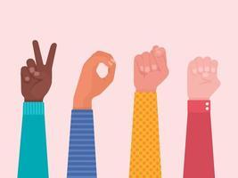 mani ortografia voto di parola nella lingua dei segni vettore