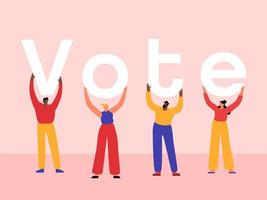 vota typohraphy con le persone vettore