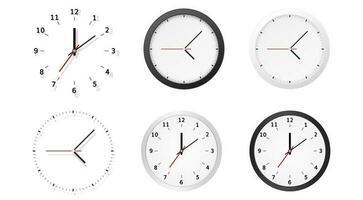 collezione di quadranti di orologio con quadrante analogico tondo vettore