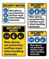 indossare guanti, protezione per gli occhi e segno della maschera. vettore