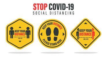 etichettare la distanza dalle persone intorno vettore