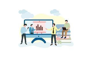 attività delle persone legate alla presentazione online vettore
