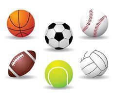 collezione di palline sportive vettore