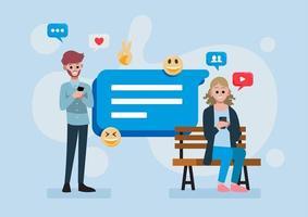 concetto di social media con persone sui telefoni vettore
