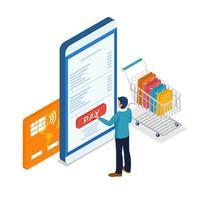 maschio shopping online effettuando il pagamento tramite telefono cellulare vettore