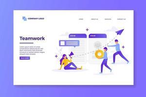 design della pagina di destinazione del lavoro di squadra viola e bianco