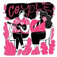 coppie che cantano sulla panchina nel parco