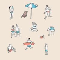 varie posture di persone sulla spiaggia