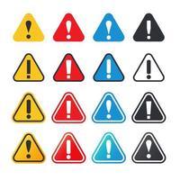 punto esclamativo impostato segno di avvertimento vettore