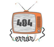 404 errore vecchia tv con schermo glitch vettore