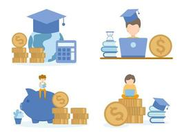 studente che impara i corsi online di investimento con il computer portatile vettore