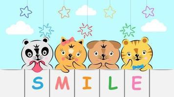 simpatici animali in stile disegnato a mano dei cartoni animati
