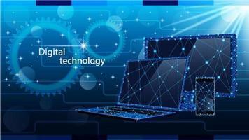tecnologia digitale impostata in poli basso design vettore
